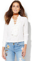New York & Co. Lace-Up Ruffled Blouse - Petite