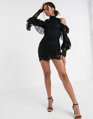 Moda Minx cold shoulder lace mini dress in black