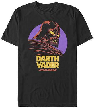 Fifth Sun Slim Darth Vader Purple Moon Cartoon Mens Crew Neck Short Sleeve Star Wars Graphic T-Shirt