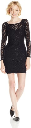 Jump Junior's Galaxy Lace Illusion Long Sleeve Dress with Keyhole Back