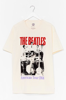 Nasty Gal Womens The Beatles Graphic Band Tee Dress - Beige - L, Beige