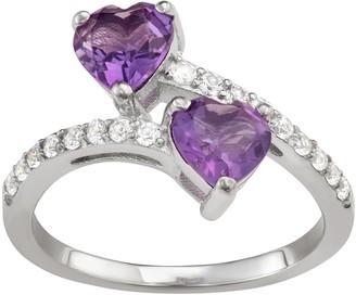 Gemstone Heart Bypass Ring