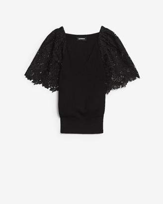 Express Lace Sleeve V-Neck Sweater