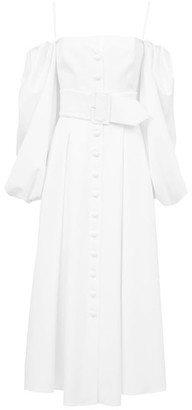 Sara Battaglia Off-the-shoulder Belted Poplin Dress - White