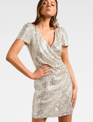 Forever New Trixie Draped Mini Dress - Sequin - 16