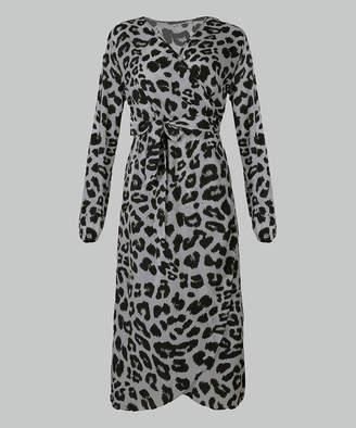 Cellabie CELLABIE Women's Casual Dresses Grey - Gray Leopard Belted Tulip-Hem Wrap Dress - Women