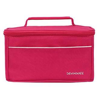 Local Makes A Comeback Simple and Stylish Waterproof Oxford Lunch Bag for Beach Food/Picnic/Camping/Grill (Pink)
