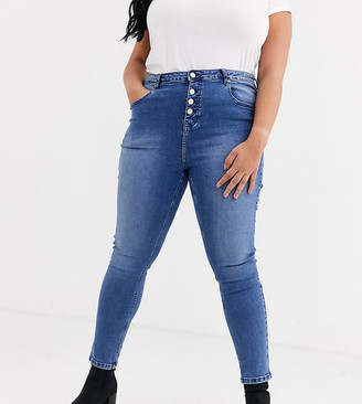 Urban Bliss Plus exposed button skinny jeans