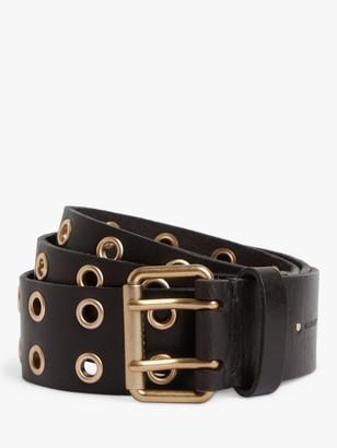 AllSaints Iryna Eyelet Leather Belt, Gold