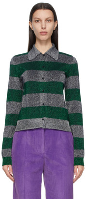 Victoria Beckham Green and Silver Stripe Lurex Cardigan