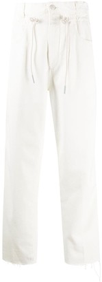 Closed Drawstring Straight-Leg Jeans