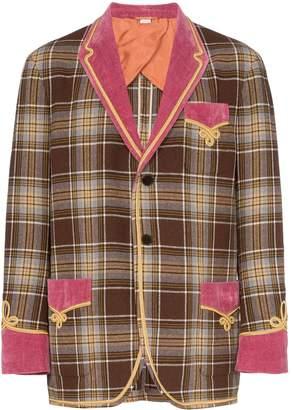 Gucci torchon trimmed check wool blend blazer
