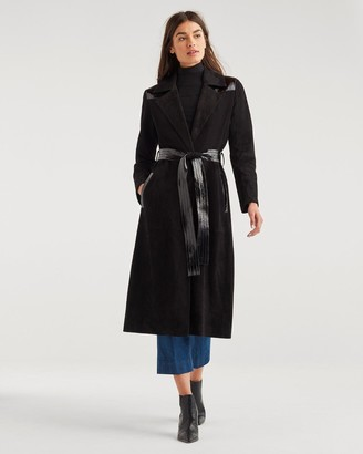7 For All Mankind Suede Trench Coat with Patent Leather Trim in Jet Black