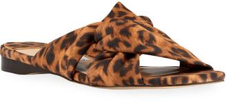 Jimmy Choo Narisa Knotted Leopard-Print Flat Sandals