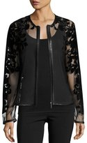 Neiman Marcus Sheer Leather-Trim Jacket w/ Baroque Velvet Overlay, Black