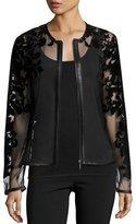 Sheer Leather-Trim Jacket w/ Baroque Velvet Overlay, Black