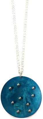 Frederic Duclos Women's Necklaces Silver - Blue & Sterling Silver Circle Pendant Necklace