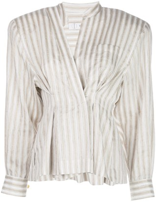 TRE by Natalie Ratabesi Clinched Waist Peplum Striped Top