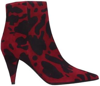 Marc Ellis High Heels Ankle Boots In Bordeaux Canvas