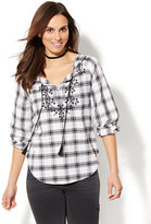New York & Co. Embroidered Peasant Blouse - Plaid