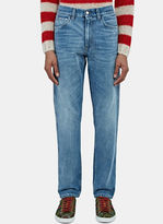 Gucci Men's Destroyed Cuff Slim Leg Jeans In Blue