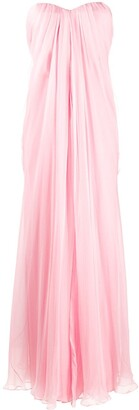 Alexander McQueen Pleated Strapless Dress