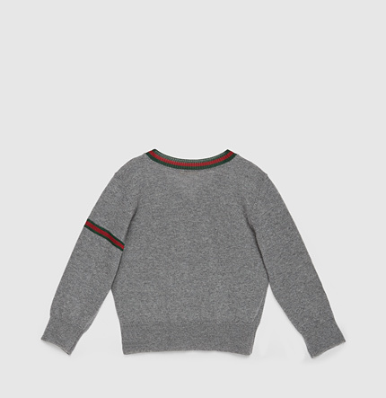 Gucci Baby Wool V-Neck Sweater With Web