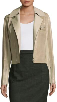 Lafayette 148 New York Bevin Leather Biker Jacket