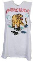 Marcelo Burlon County of Milan Govinta White Cotton Tank Top With Tiger Embroidery