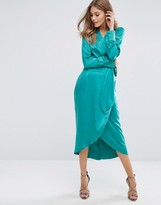 Boohoo Satin Wrap Tie Midi Dress
