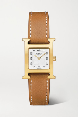 HERMÈS TIMEPIECES Heure H 21mm Small Gold-plated And Textured-leather Watch - Light brown