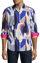 Robert Graham Imperial Valley Printed Poplin Shirt, Blue