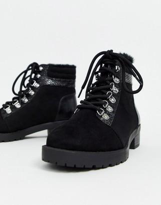 Miss Selfridge hiker boots in black