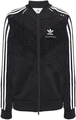adidas by Stella McCartney Lace-paneled Jersey Bomber Jacket
