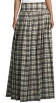 Michael Kors Banded-Waist Plaid Hostess Skirt, Muslin/Black
