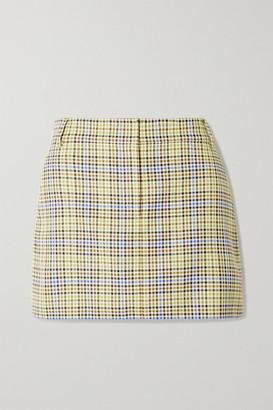 Tibi Checked Woven Mini Skirt - Green