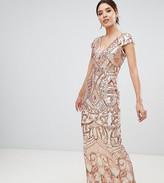 Bariano embellished maxi dress with cap sleeve in rose gold