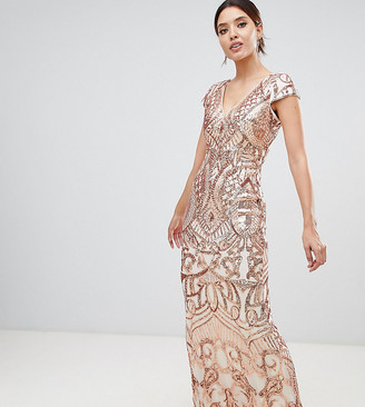 Asos Bariano embellished maxi dress with cap sleeve in rose gold