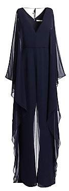 Halston Women's Dramatic Georgette Overlay Wide-Leg Jumpsuit - Size 0