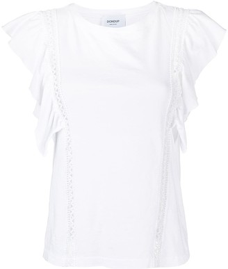 Dondup Ruffled Lace-Trimmed Cotton Blouse