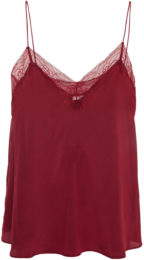 Thumbnail for your product : BA&SH Songe Lace-trimmed Silk Crepe De Chine Camisole