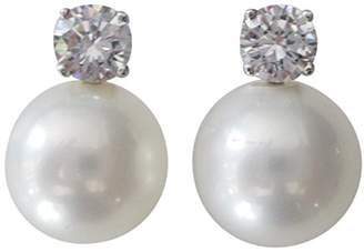 """Kenneth Jay Lane CZ by Jarin K"""" CZ and 12 mm Freshwater Cultured Pearl Stud Pierced Earrings"""