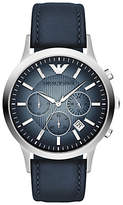 Emporio Armani Ar2473 Chronograph Degrade Dial Leather Strap Watch, Blue