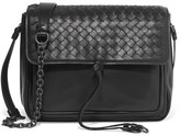Bottega Veneta Saddle Small Intrecciato Leather Shoulder Bag - Black