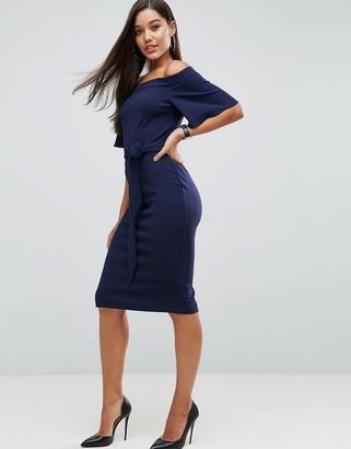 Asos Design ASOS Midi Dress with Off Shoulder and Self Tie