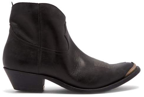 Golden Goose Young Leather Ankle Boots - Womens - Black