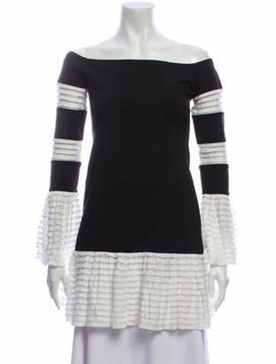 Alexis Colorblock Pattern Mini Dress Black