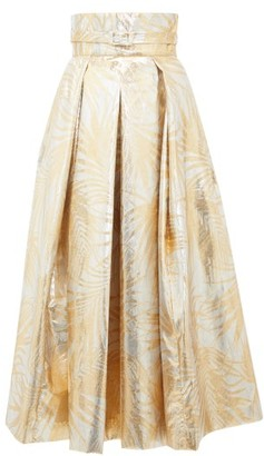 Sara Battaglia Belted High-rise Palm-leaf Brocade Midi Skirt - Gold Multi