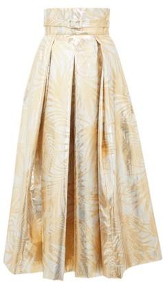 Sara Battaglia Belted High-rise Palm-leaf Brocade Midi Skirt - Womens - Gold Multi