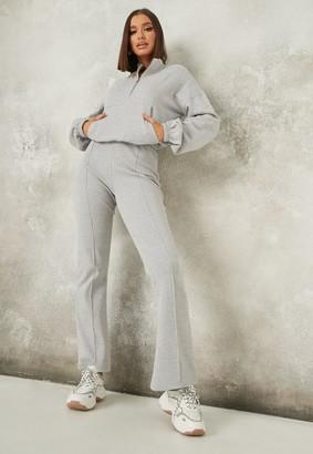 Missguided Grey Co Ord Rib Straight Leg Joggers
